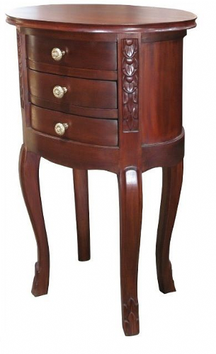 Oval Bedside with 3 Drawers in Mahogany
